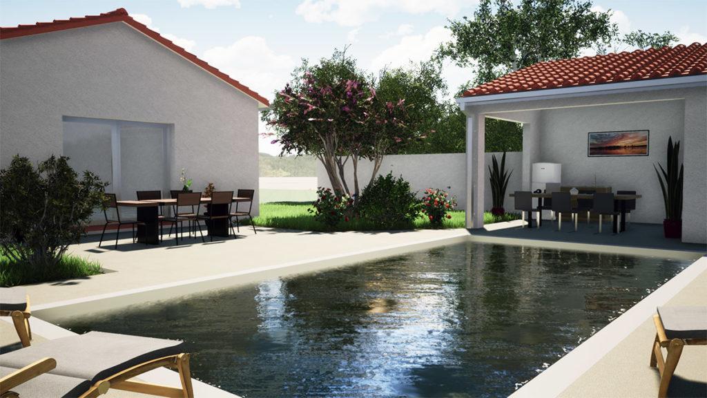 Aménagement jardin avec piscine