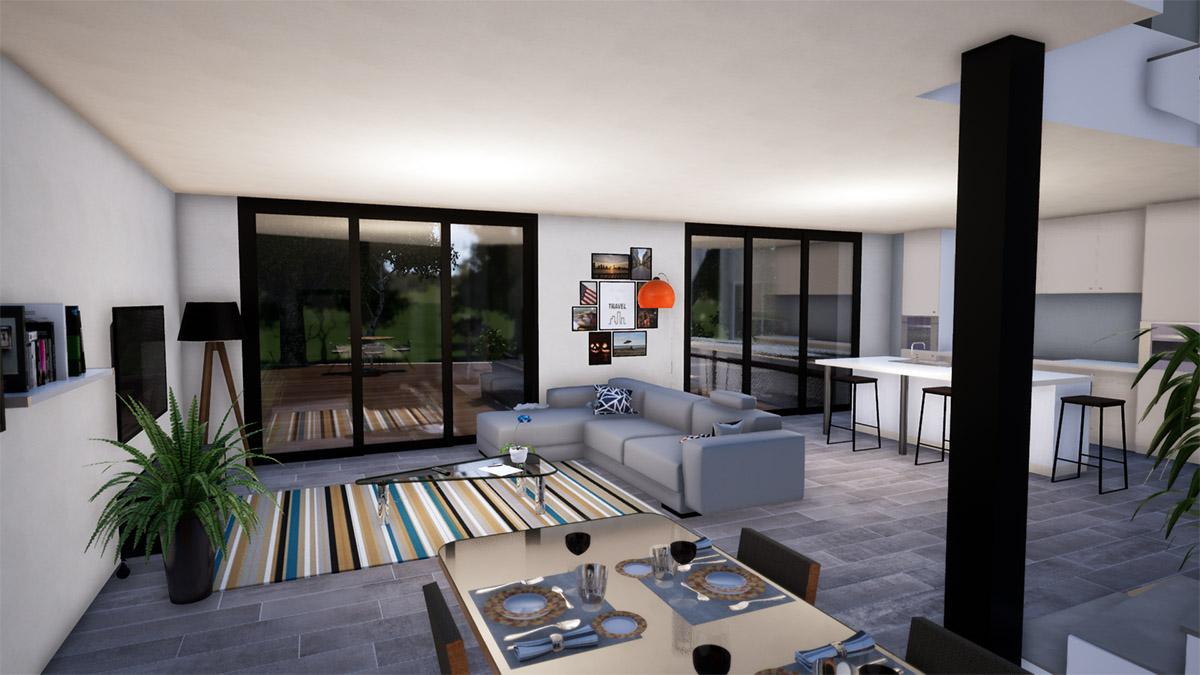 Image intérieur, Aménagement salon, rendu 3D prévisualisation d'architecture